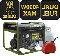 Dual Fuel Powered Portable Generator Runs LPG/Regular Gasoli