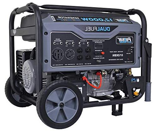 Pulsar 12,000W Portable Generator in Gray with Electric G12KBN